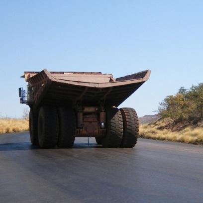 Vehicle on haul road